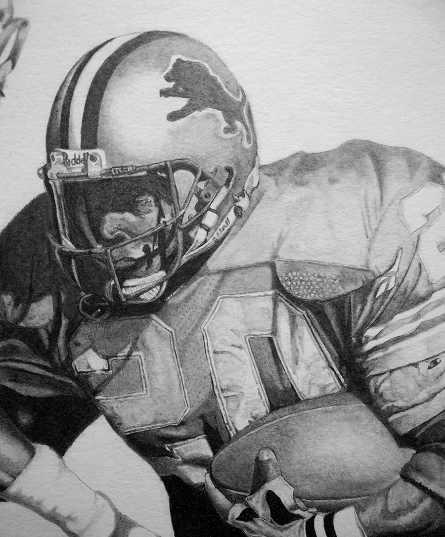 Barry Sanders Painting by Jamie Thomas