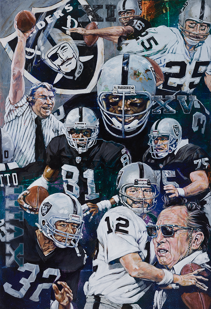 NFL Painting of the Oakland Raiders by Artist Robert Hurst