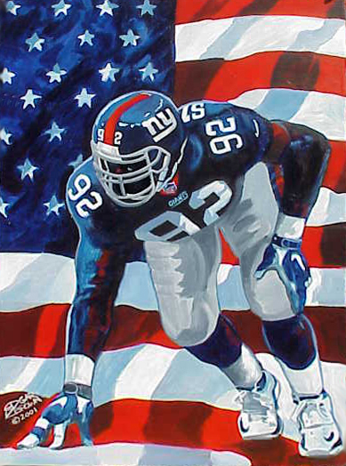 NFL Painting by Edgar J. Brown of New York Giants Michael Strahan