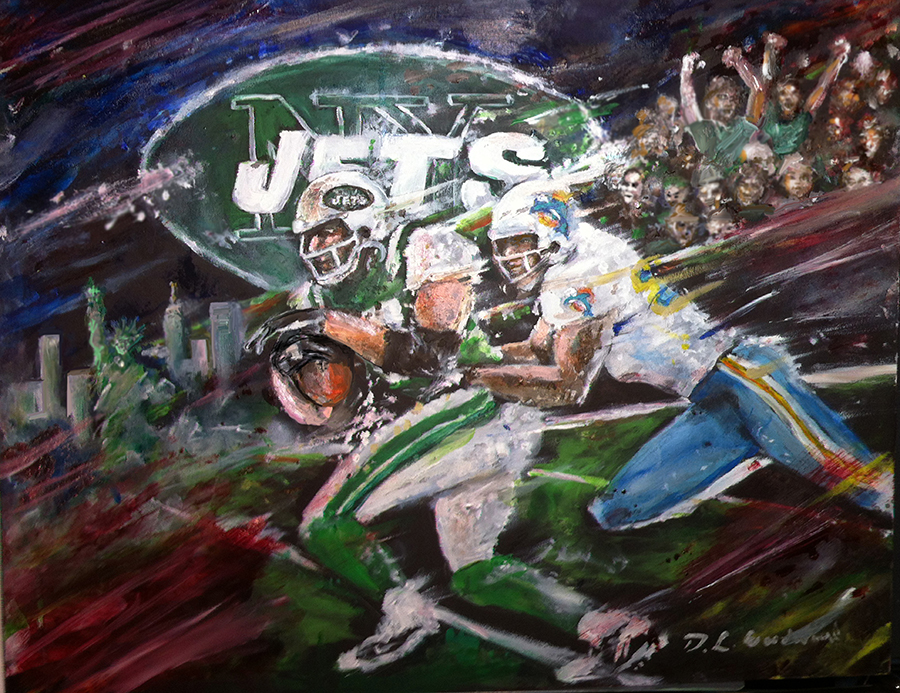 New york jets painting by daniel leeland woodward new york jets and miami dolphins artwork voltagebd Choice Image