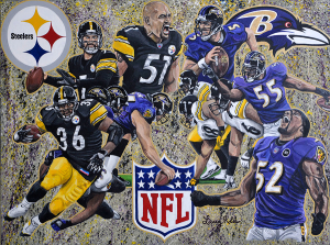 Steelers and Ravens Painting by Larry Klu