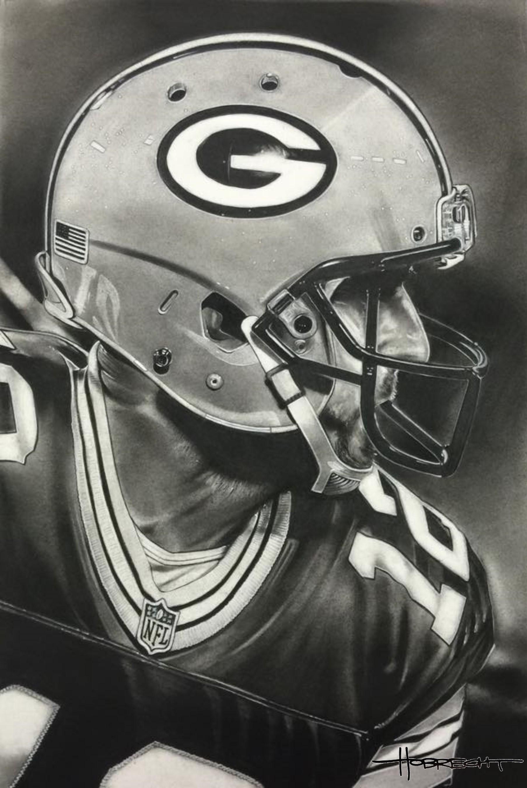 Green Bay Packers Helmet Artwork By Dave Hobrecht