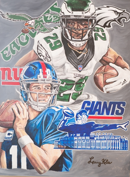 NFL Art of the Philadelphia Eagles and New York Giants