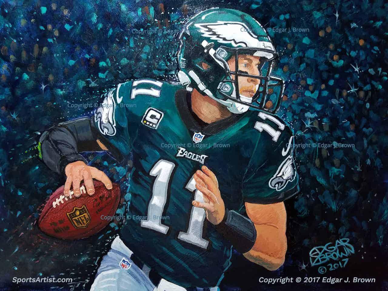 Philadelphia Eagles Carson Wentz Painting by Edgar Brown 1109bd7c21d5